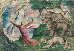 William Blake, Dante running from the Three Beasts from Hell, Canto 1 of Dante's Divine Comedy. The leopard  is worldly pleasure, the lion is worldly ambition and the she-wolf  is greed.