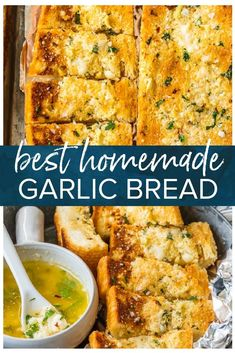 This Homemade Garlic Bread recipe is the absolute BEST we have ever tried! The butter melts deep into the bread, creating the ultimate side dish. Best Garlic Bread Recipe, Garlic Bread Spread, Cheesy Garlic Breadsticks Recipe, Garlic Bread Pizza, Make Garlic Bread, Homemade Garlic Bread, Homemade Recipe, Rosemary Bread, Bread Machine Recipes