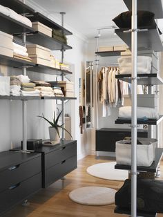 This is the perfect idea for the Sleepout at Crown Street in order to turn it into a walk in robe for the main bedroom. It utilises the Stolmen storage system from Ikea. Might have to try and leave enough room to sneak a small desk in.