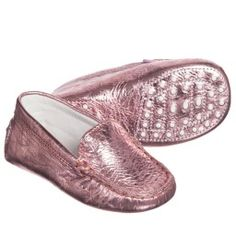 Tod's - Baby Girls Pink Metallic Leather 'Gommini' Moccasins | Childrensalon
