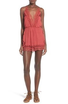 Tularosa 'Charmer' Lace Trim V-Neck Romper available at #Nordstrom