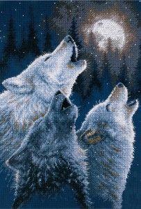Вышивка крестом Волки (Подборка схем)