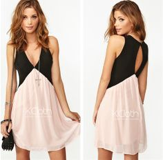 ef5e28c1d1 Woman Deep V-Neck Sexy Hollow Out Sleeveless Chiffon Dress Pink Vest Dress  Plus Size
