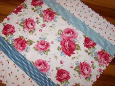 """Handmade Baby Quilt """"Sweet Roses"""" in Red Pink Blue White Girl Custom Orders Available by Myra Barnes of Busy Hands Quilts"""