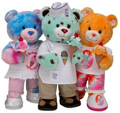 New Bears At Build A Bear (these come with ice cream) Cute Teddy Bears, Build A Bear, Cute Stickers, Cuddling, Hello Kitty, Childhood, Plush, Ice Cream, Nostalgia