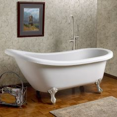 "54"" Charleston Acrylic Slipper Clawfoot Tub (Brushed Nickel Feet / No Tap Holes))-Ball and Claw feet CODE: 109161"