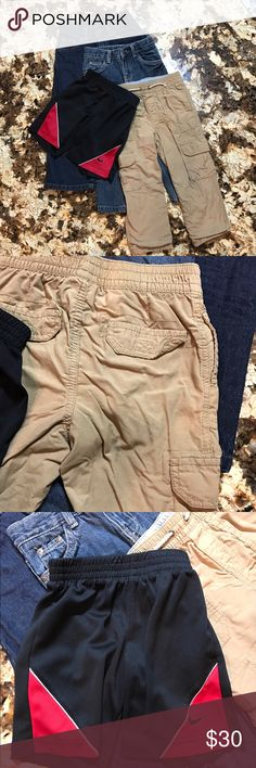 Must Sell! 👖 Bundle of 4 boys bottoms 👖 I need space in my boys closets! Everything listed must go!!! 👖 Bundle of 4 boys bottoms 👖 one pair of Nike basketball shorts like new, two pairs of jeans like new (Arizona and padded glory) and one pair Cherokee lined khaki pants. The khakis do have a few small stains that I tried to zoom in on in the last photo. Make an offer or add to a bundle! 📦 Bundle and save on shipping 📦 Nike Bottoms Jeans