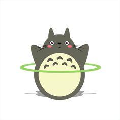 Анимация Totoro / Тоторо из аниме Tonari no Totoro / Мой сосед Тоторо, крутит обруч