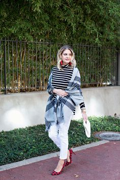 What I Wore: Black and White Stripes with a Pop of Plaid