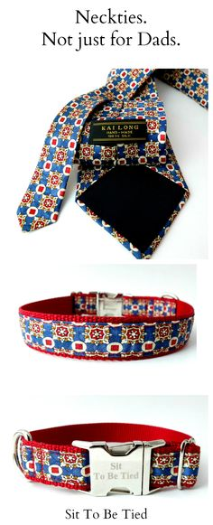 red, white and blue dog collar created from a silk necktie.