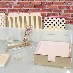 Love these for a home office // Kate Spade Acrylic Letter Tray, Acrylic Desk Accessories Office Desk Organization, Organization Ideas, Bedroom Desk, Diy Bedroom, Trendy Bedroom, Kate Spade, Home Office Decor, Home Decor, Office Ideas