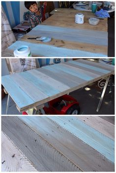 tutorial for pallet and saw horse desk -  I pinned it because I really like the technique of pre-painting the wood with several different watered-down colors before sanding