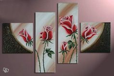 beautiful oil paintings of roses 3 Piece Canvas Art, Canvas Wall Art, Painting Canvas, Easy Flower Painting, Flower Art, Rose Wall, Plant Drawing, Leaf Art, Wall Art Sets