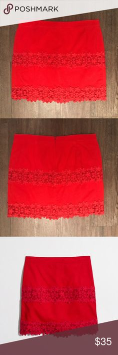 J. Crew Factory Red Cotton Floral Lace Skirt Sz 10 J. Crew Factory Red Cotton Lace Skirt in Scalloped Floral Size 10 || Sits at waist, 17 inches long || Perfect skirt for work in the spring and summer! J. Crew Factory Skirts