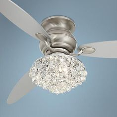 An elegant hugger ceiling fan with silver finish blades and a brushed steel finish motor. Style # at Lamps Plus. Ceiling Fan Chandelier, Ceiling Lights, Elegant Ceiling Fan, Lustre Vintage, Hugger Ceiling Fan, Ceiling Fan Makeover, Best Ceiling Fans, Bedroom Ceiling, Ceiling Fan Girls Room
