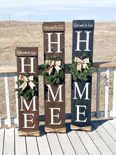 Welcome to our home / Large wooden front door home sign / Welcome Signs Front Door, Wooden Welcome Signs, Front Porch Signs, Front Door Decor, Welcome Home Signs, Wooden Door Signs, Wooden Front Doors, Wooden Door Hangers, Patio Signs
