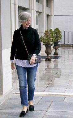 j.crew turtleneck, banana republic girlfriend jeans, tahari smoking slippers, talbots tweed handbag