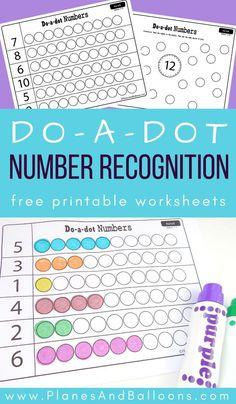 Dot marker number recognition worksheets