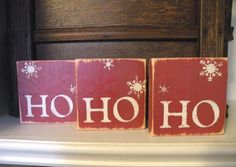 HO HO HO Wooden Christmas Decoration in Rustic Red and by iPam, $15.00