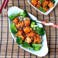 Vegan version of General Tso's chicken made with tofu -- spicy and delicious. Served with brown rice and steamed broccoli.