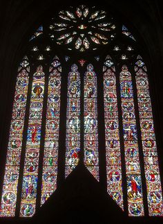 West Window, Worcester Cathedral - find the pink giraffe -one of 13 mistakes I was told Stained Glass Church, Stained Glass Art, Stained Glass Windows, Mosaic Glass, English Architecture, Beautiful Architecture, Worcester Cathedral, Cathedral Architecture, Church Windows
