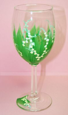Hand Painted Wine Glass Lily of the Valley by BrushStrokeBoutique