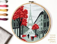 Autumn Paris Modern Cross Stitch Pattern, nature, Landscape Cross stitch, The Eiffel Tower, easy cou - The top trends to try in 2019 Hand Embroidery Patterns, Embroidery Art, Cross Stitch Embroidery, Tour Eiffel, Paris In Autumn, Cross Stitch Needles, Modern Cross Stitch Patterns, Counted Cross Stitch Patterns, Hama Beads