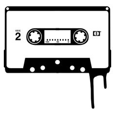 Cinta de cassette en blanco y negro. Silhouette.