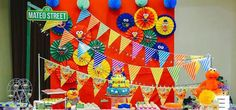 Dessert Table Backdrop from an Elmo + Sesame Street Birthday Party via Kara's Party Ideas | KarasPartyIdeas.com (1)