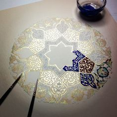 Painting a mandala Mandala Art, Mandala Design, Islamic Patterns, Art Patterns, Islamic Designs, Zentangle Patterns, Zentangles, Drawn Art, Islamic Art
