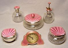 Pink guilloche-scanned from an old Antique Clocks