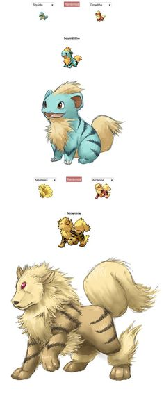 squirlithe and ninenine - love the Squirtle & Arcanine Pokemon fusion art hybrid/crossbreed Pokemon Mix, Pokemon Fusion Art, Pokemon Funny, Pokemon Memes, Pokemon Fan Art, Anime Chibi, Anime Art, Pokemon Comics, Bulbasaur
