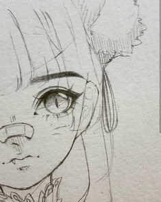 Introduction to Pencil Drawing Supplies & Techniques Cute girl with pony tail and nose bandage anime chibi eyes bangs Anime Drawings Sketches, Anime Sketch, Cool Drawings, Pencil Drawings, Eye Drawings, Cute Drawings Tumblr, Nose Drawing, Manga Drawing, Manga Art
