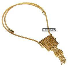 Parthenon Greek 18k Gold Square Necklace by ParthenonGreekJewels