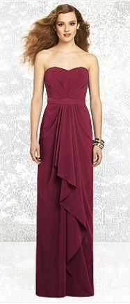 ♥♥♥ Lavender Burgundy Wedding ♥♥♥ - Dessy - long burgundy rouged strapless bridesmaid gown