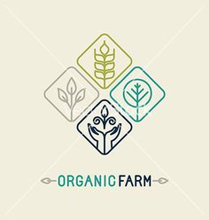 Vector agriculture and organic farm line logo - design elements and badge for food industry - stock vector Organic Logo Design, Farm Logo Inspiration, Eco Logo, Design Elements, Logo Branding, Logo Food, Industry Logo, Logo Design, Typo Logo