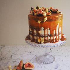 This is my type of cake to eat, layers of caramel mud cake with white chocolate & caramel filling, drizzled with salt caramel and to finish it off with fresh figs and popcorn.