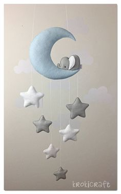 Sleepy elephant Moon and stars decor/baby mobile Schläfrig Elefant Mond und Sterne Dekor/Baby mobile