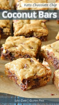 Recommended Tips:Keto Chocolate Chip Coconut Bars - Recommended Tips Coconut Bars, Keto Recipes, Keto Desserts, Keto Snacks, Ketogenic Recipes, Ketogenic Diet, Keto Foods, Chocolate Chip Cookie Bars, Chocolate Bars