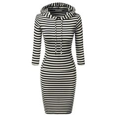 Fashion Women Full Sleeve Striped Hoody Hoodie Hooded with Pockets Autumn Winter Wear Bodycon Casual Pencil Dress