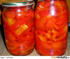Sterilovaná paprika s olejem Fruit Preserves, Cantaloupe, Smoothie, Carrots, Stuffed Peppers, Canning, Vegetables, Food, Red Peppers