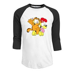 JUN Men's 3/4 Sleeve Cat And Odie Baseball Tee Black L *** Click here for more details @