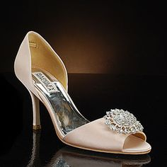 """Possibly too pricey, but is light pink, 3"""", and bejeweled.  badgley mischka lacie-pink pink  Wedding Shoes"""