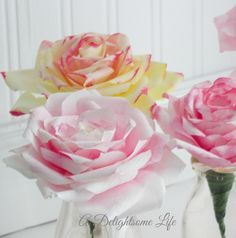 A DELIGHTSOME LIFE water color painted coffee filter roses Coffee Filter Roses, Coffee Filter Crafts, Coffee Filters, Fake Flowers, Diy Flowers, Fabric Flowers, Rose Tutorial, Wreath Tutorial, Paper Crafts