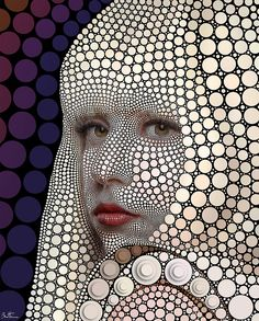 Lady Gaga This links to order an disorder because the womans face is covered in circles of all sizes but it also shows order because the size of the circles have changed and have been strategically placed