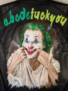 JOKER Jacket by @mossoodesign Put on a happy face #jokerjacket #thejoker #jokermovie #jokerart #putonahappyface #acbdefuckyou #joaquinphoenix Joker Jacket, Painted Leather Jacket, Joker Art, Leather Jackets, Put On, Jokes, Hand Painted, Smile, Face