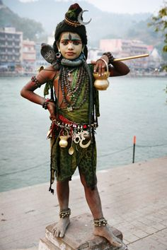 Boy dressed as Shiva.