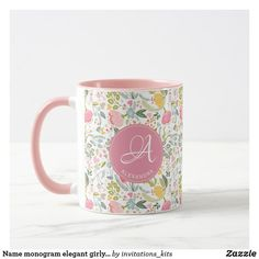 Name monogram elegant girly cute pattern pink mug Cute Gifts For Girlfriend, Surprise Your Girlfriend, Desk Gifts, Office Gifts, Unique Office Supplies, Invitation Kits, Name Mugs, Personalized Birthday Gifts, Cool Mugs