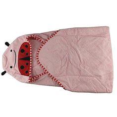 Cartoon Baby Towels Bathrobe Infant Bath Towels Cute Designs Hooded Animal Modeling (Pink Beetle) - $18.99