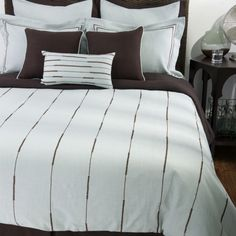 Rizzy Home Elle Bedding Set in Light Blue / Chocolate - BT-789